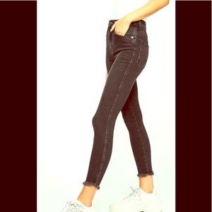 Free People Black Dstryd Raw High-rise Jegging 25